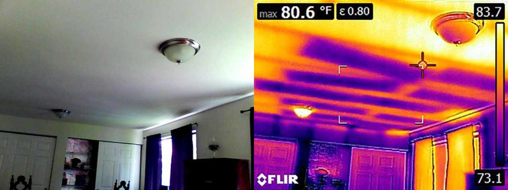 Thermal imaging shows poorly laid insulation in the ceiling.