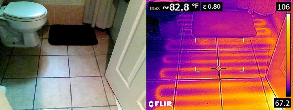 Side by side regular and thermal images show radiant heater coils beneath the tile.